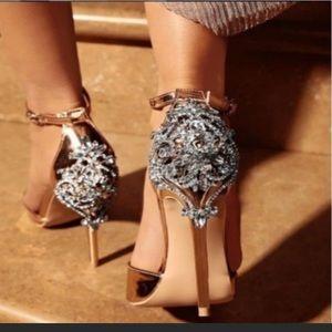Champagne rhinestone embellished heels